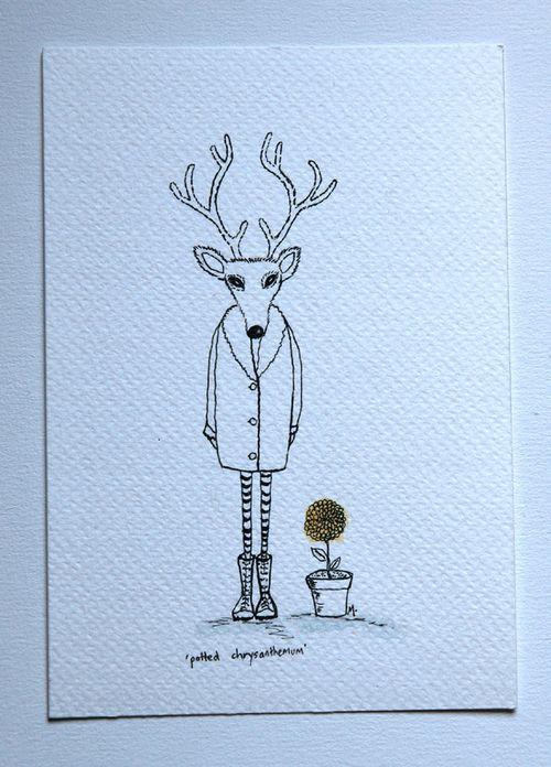 Deer with chrysanthemum yellow low res