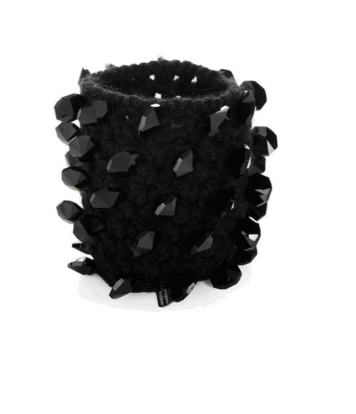 Black crystal and cashmere cuff